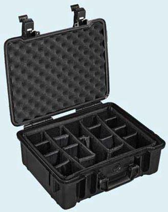 Obrázek TYP 50 – Černý vodotěsný kufřík vč. dělících přepážek s bezpečnostním uzavíráním.