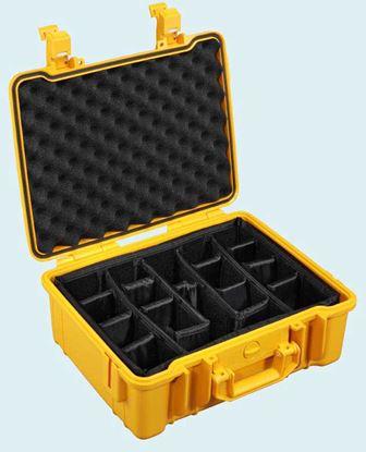 Obrázek TYP 50 – Oranžový vodotěsný kufřík vč. dělících přepážek s bezpečnostním uzavíráním.