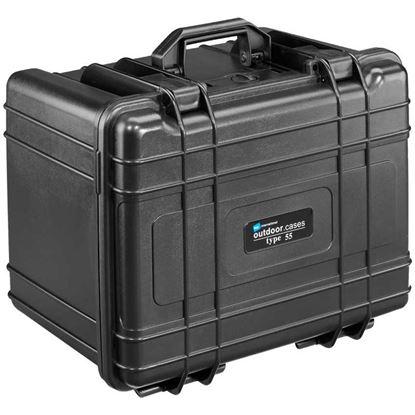 Obrázek TYP 55 – Černý vodotěsný kufr vč. dělících přepážek s bezpečnostním uzavíráním.