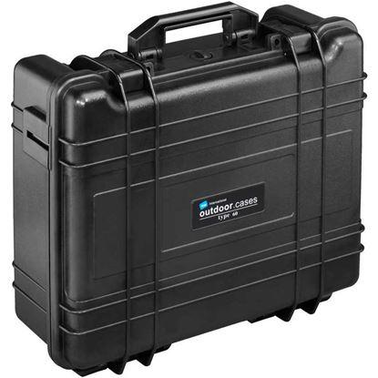 Obrázek TYP 61 – Černý vodotěsný kufr vč. dělících přepážek s bezpečnostním uzavíráním.