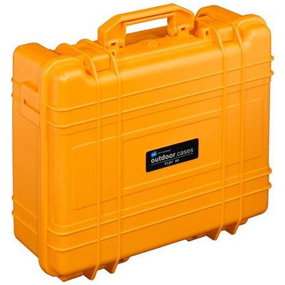 Obrázek TYP 61 – Oranžový vodotěsný kufr bez výplně – prázdný s bezpečnostním uzavíráním.