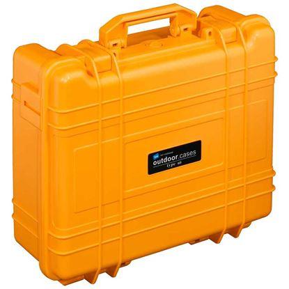 Obrázek TYP 61 – Oranžový vodotěsný kufr vč. pěnové vložky s bezpečnostním uzavíráním.