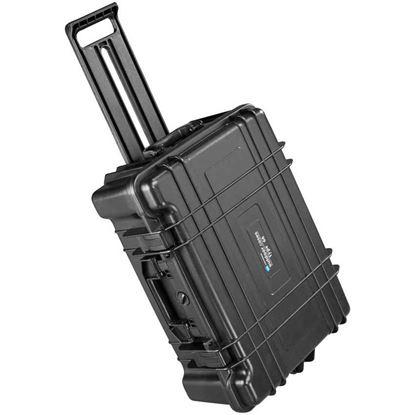 Obrázek Typ 66 – Černý vodotěsný kufr s kolečky bez výplně - prázdný s bezpečnostním uzavíráním.