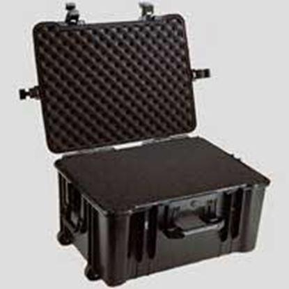 Obrázek Typ 66 – Černý vodotěsný kufr s kolečky vč. pěnové vložky s bezpečnostním uzavíráním.