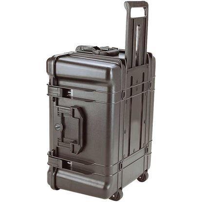 Obrázek TYP 68 – Černý vodotěsný kufr s kolečky bez výplně – prázdný s bezpečnostním uzavíráním, kolečka.