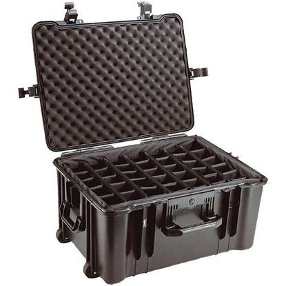 Obrázek TYP 68 – Černý vodotěsný kufr s kolečky vč. dělících přepážek s bezpečnostním uzavíráním, kolečka.