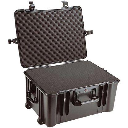 Obrázek TYP 68 – Černý vodotěsný kufr s kolečky vč. pěnové vložky s bezpečnostním uzavíráním, kolečka.