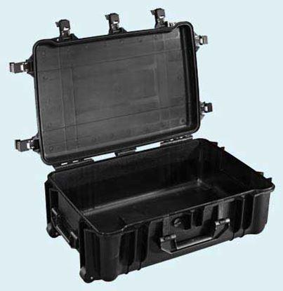 Obrázek TYP 70 – Černý vodotěsný kufr s kolečky bez výplně – prázdný s bezpečnostním uzavíráním.