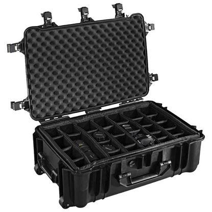 Obrázek TYP 70 – Černý vodotěsný kufr s kolečky vč. dělících přepážek s bezpečnostním uzavíráním.