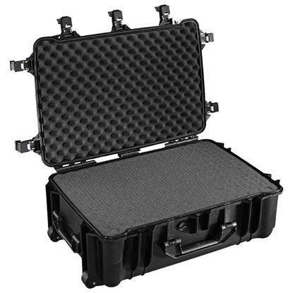 Obrázek TYP 70 – Černý vodotěsný kufr s kolečky vč. pěnové vložky s bezpečnostním uzavíráním.