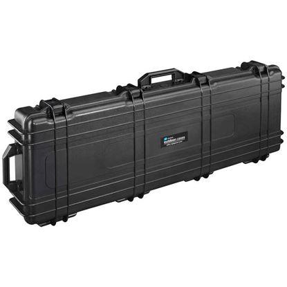 Obrázek TYP 72 – Černý vodotěsný kufr s kolečky vč. pěnové vložky s bezpečnostním uzavíráním.
