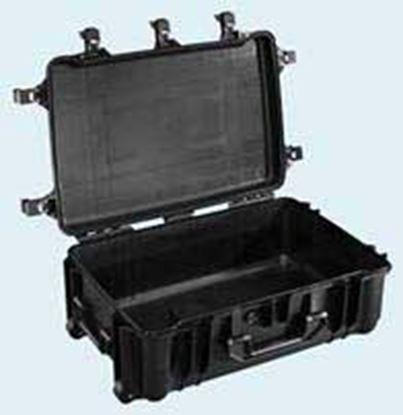 Obrázek TYP 78 – Černý vodotěsný kufr s kolečky bez výplně – prázdný s bezpečnostním uzavíráním.