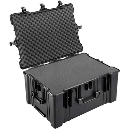 Obrázek TYP 78 – Černý vodotěsný kufr s kolečky vč pěnové vložky s bezpečnostním uzavíráním.