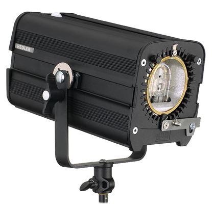 """Obrázek Hedler F 1000 obsahuje ochranné sklo, výbojku, naklápěcí hlavici typu """"U"""" s rychloupínáním na stativ."""