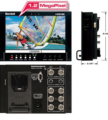 Obrázek V-R70P-HDA HD 7' Wide Screen LCD Monitor with V-Clip Battery Mount