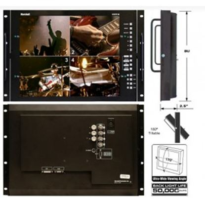 Obrázek V-R171P-4A-PAL 17' Rack Mountable LCD Monitor with Quad Splitter & Switcher, PAL format only