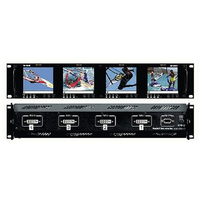 Obrázek V-R44P-DVI Four  HD 3.5' LCD Screen Rack Mount Panel with DVI, VGA